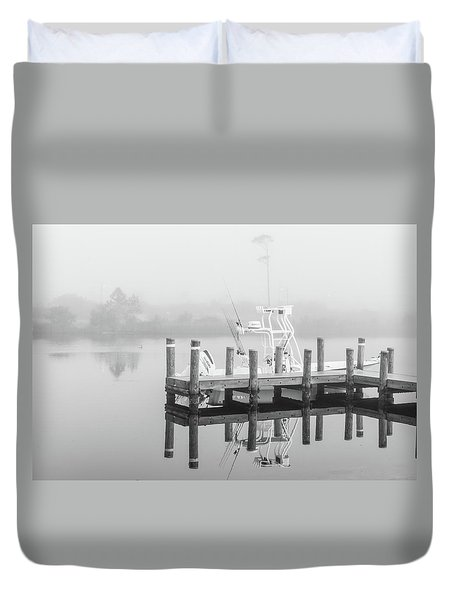 Duvet Cover featuring the photograph Boat In The Sounds Alabama  by John McGraw