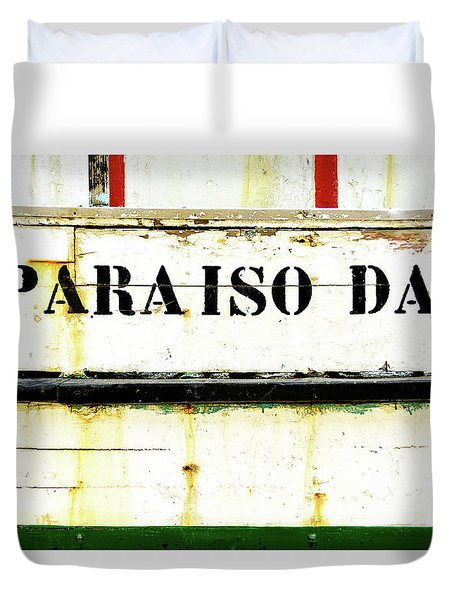 Duvet Cover featuring the photograph Boat Letters by Marion McCristall