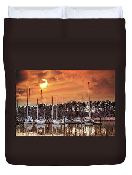 Boat Marina On The Chesapeake Bay At Sunset Duvet Cover