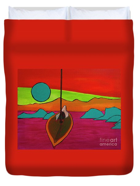 Duvet Cover featuring the painting Boat Moonrise by Jeanette French