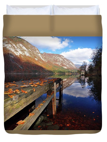 Boat Mooring At Lake Bohijn Duvet Cover