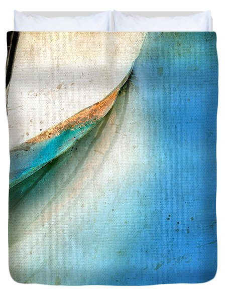 Duvet Cover featuring the photograph Bow Of An Old Boat Reflecting In Water by Jill Battaglia