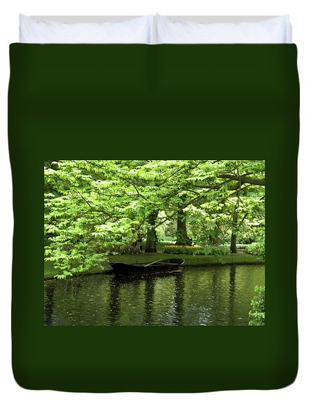 Boat On A Lake Duvet Cover by Manuela Constantin