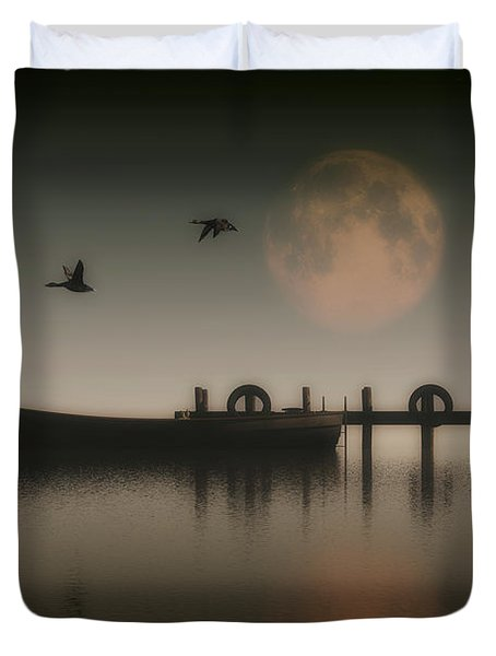 Boat On A Lake With Geese Flying Over Duvet Cover