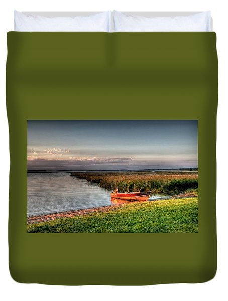 Boat On A Minnesota Lake Duvet Cover