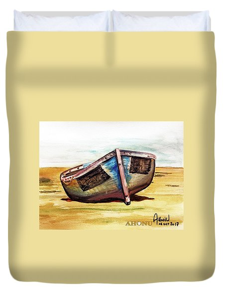 Boat On Beach Duvet Cover