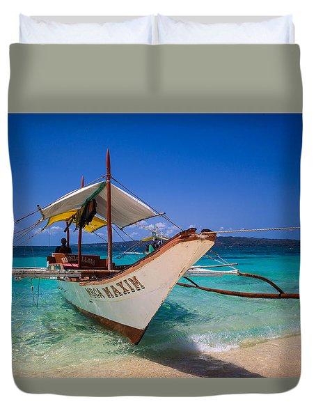 Boat On Boracay Island Duvet Cover