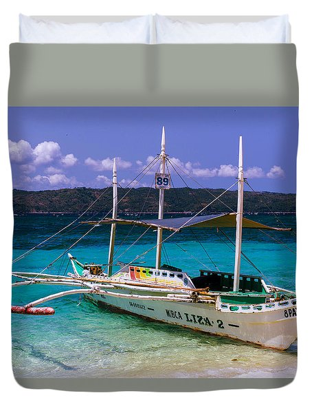 Boat On Puka Beach, Boracay Island, Philippines Duvet Cover