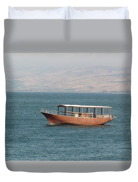 Boat On Sea Of Galilee Duvet Cover