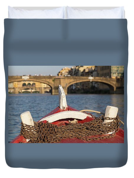 Boat On The Arno River,  Duvet Cover