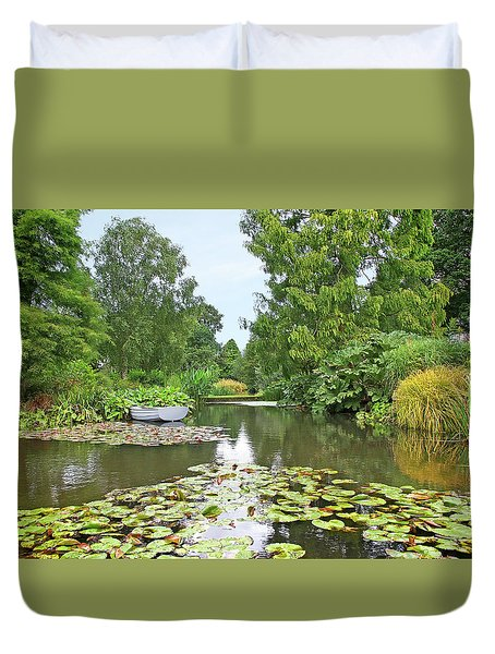 Boat On The Lake Duvet Cover by Gill Billington