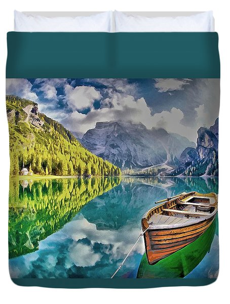 Boat On The Lake Duvet Cover