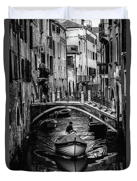 Boat On The River-bw Duvet Cover