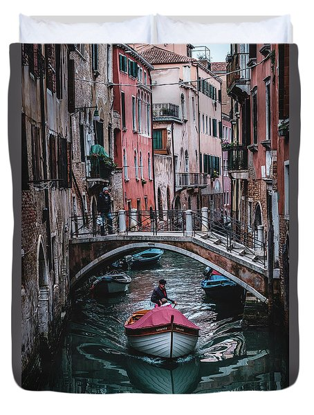 Boat On The River Duvet Cover