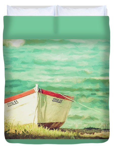 Boat On The Shore Duvet Cover