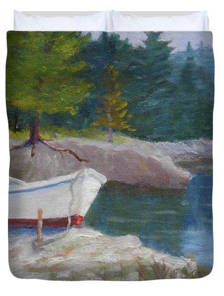 Boat On Tidal River Duvet Cover