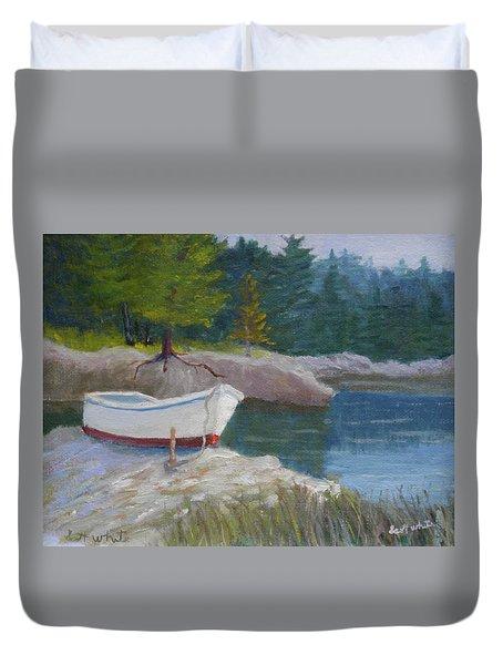 Boat On Tidal River Duvet Cover