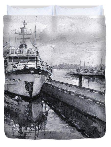 Boat On Waterfront Marina Kirkland Washington Duvet Cover by Olga Shvartsur