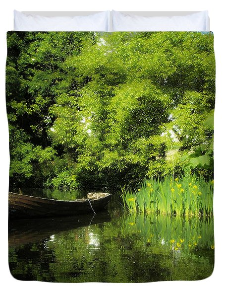 Boat Reflected On Water County Clare Ireland Painting Duvet Cover