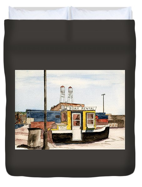 Boat Rental Near Duluth Canal Park Duvet Cover by R Kyllo