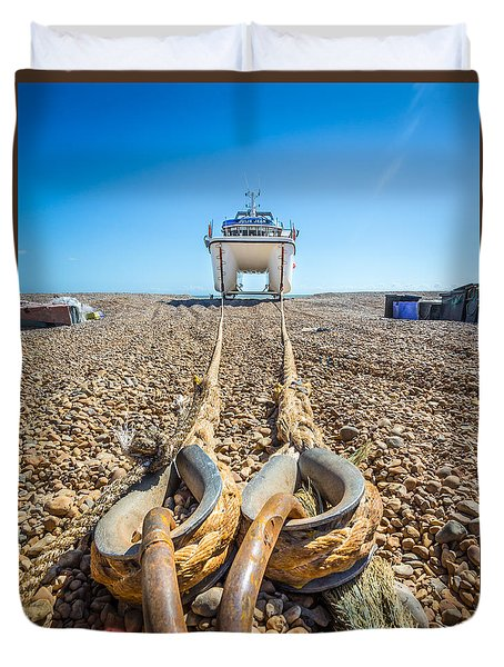 Duvet Cover featuring the photograph Boat Ropes. by Gary Gillette