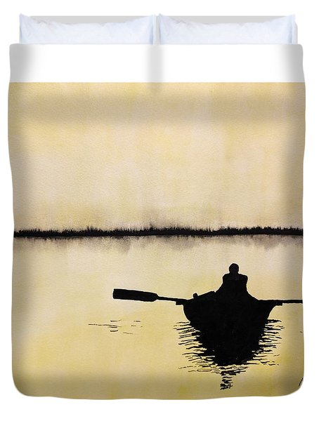 Duvet Cover featuring the painting Boat Sunlight  by Edwin Alverio