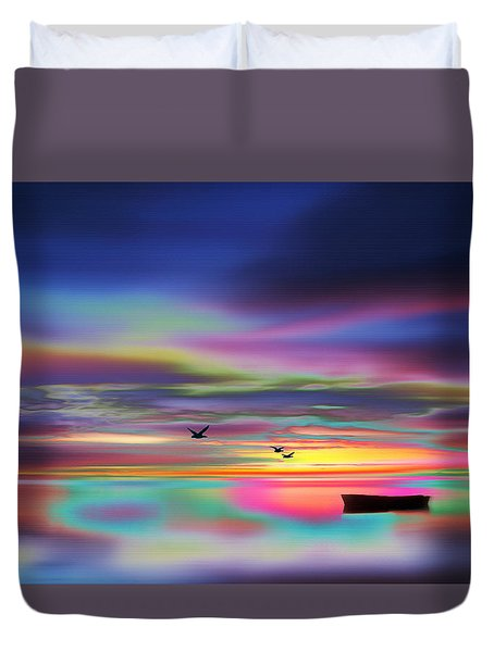 Boat Sunset Duvet Cover
