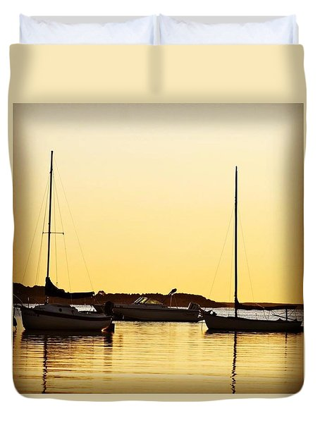 Boat Trio Duvet Cover by Justin Connor