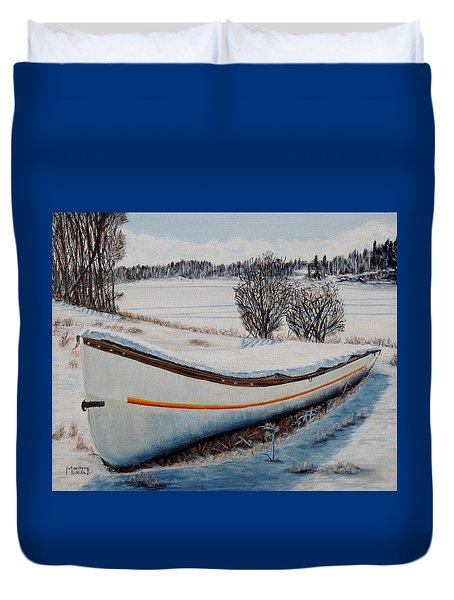 Duvet Cover featuring the painting Boat Under Snow by Marilyn  McNish