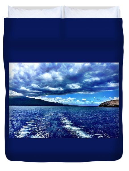 Duvet Cover featuring the photograph Boat View by Michael Albright