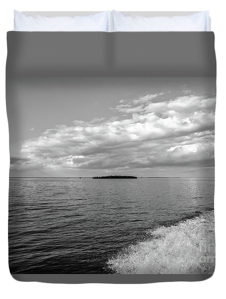 Boat Wake On Florida Bay Duvet Cover