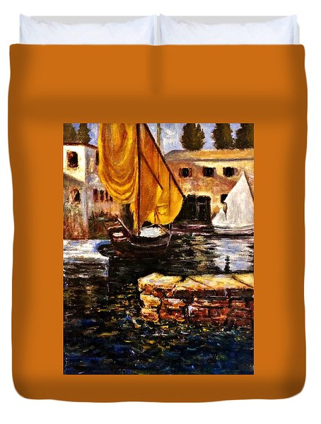 Boat With Golden Sail,san Vigilio  Duvet Cover