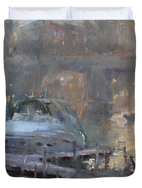 Boaters At Dusk Duvet Cover