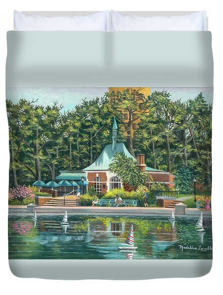 Boathouse In Central Park, N.y. Duvet Cover