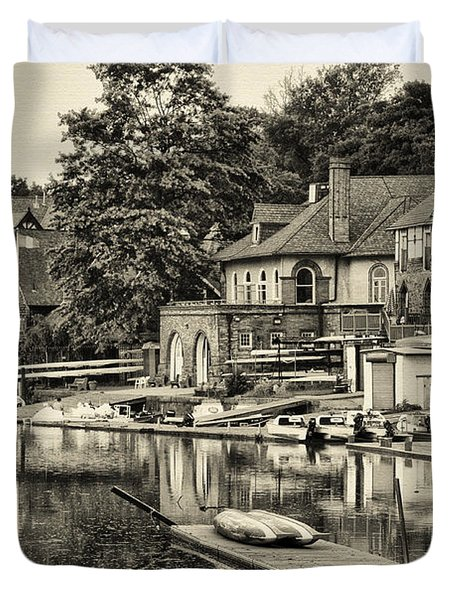 Boathouse Row In Sepia Duvet Cover by Bill Cannon