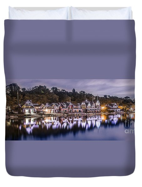 Boathouse Row Night Blue Duvet Cover