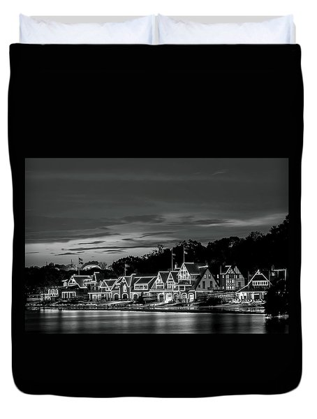 Boathouse Row Philadelphia Pa Night Black And White Duvet Cover