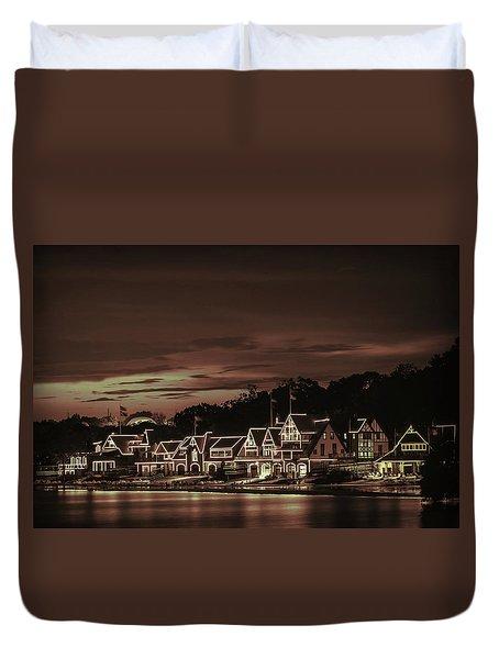 Boathouse Row Philadelphia Pa Night Retro Duvet Cover