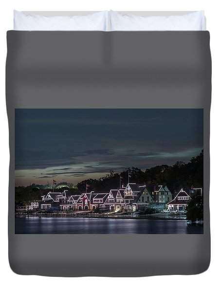 Boathouse Row Philly Pa Night Duvet Cover