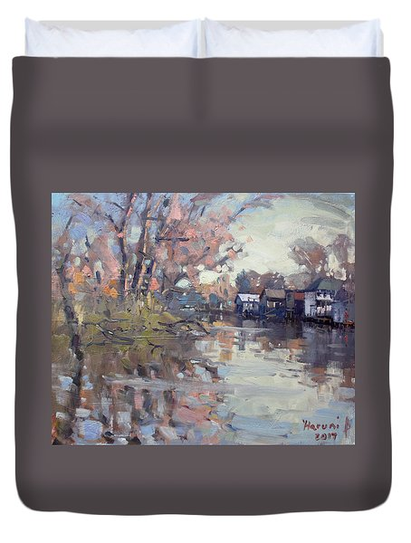 Boathouses At Eastern Park And Kayak Launch  Duvet Cover