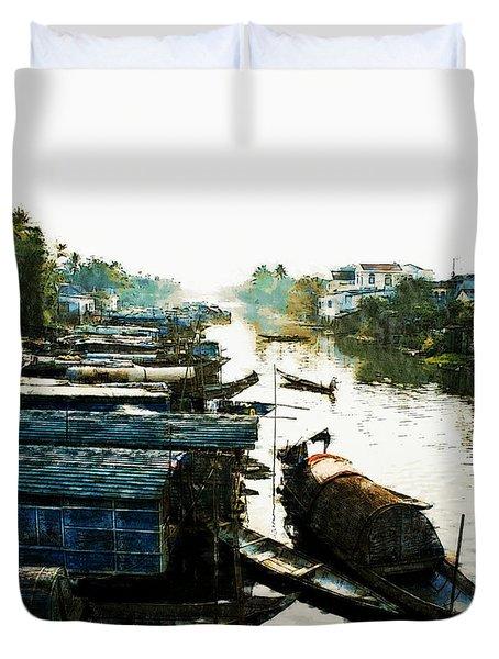 Boathouses In Vietnam Duvet Cover