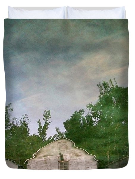 Boathouses With Sky And Trees Duvet Cover by Michelle Calkins