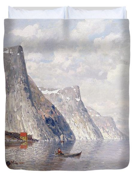 Boating On A Norwegian Fjord Duvet Cover by Johann II Jungblut