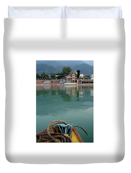 Boatride Across The River Ganga At Rishikesh, India Duvet Cover by Misentropy