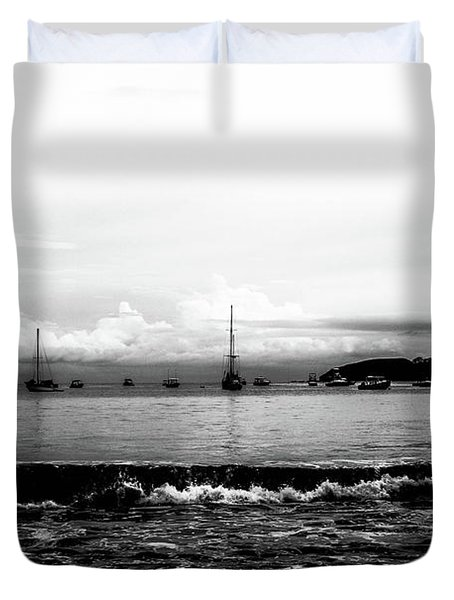 Boats And Clouds Duvet Cover