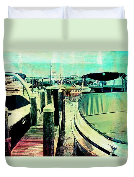 Boats And Dock Duvet Cover by Susan Stone