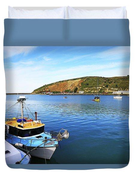 Duvet Cover featuring the photograph Boats At Friendly Bay by Nareeta Martin