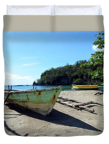 Duvet Cover featuring the photograph Boats At La Soufriere, St. Lucia by Kurt Van Wagner