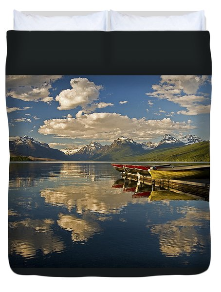 Duvet Cover featuring the photograph Boats At Lake Mcdonald by Gary Lengyel