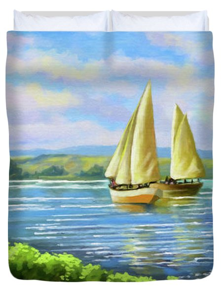 Duvet Cover featuring the painting Boats At Lake Victoria by Anthony Mwangi